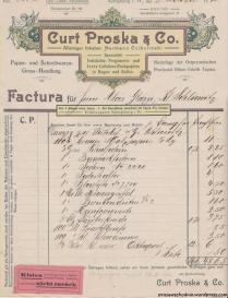 Königsberg: Curt Proska & Co. Alleiniger Inhaber Hermann Czibulinski, Papier und Schreibwaren Gross Handlung - Alois Glaza, Klein Schliewitz (Śliwiczki, pow. tucholski).
